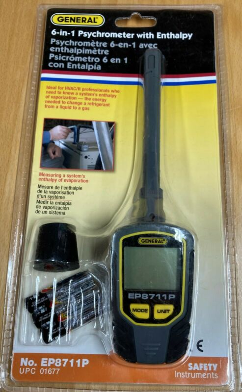 NEW General Tools EP8711P 6-In-1 Digital Psychrometer with Enthalpy WE SHIP FAST