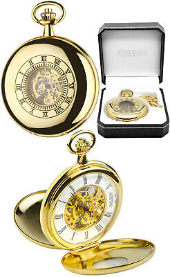 Jean Pierre Twin Lid Skeleton Pocket Watch Gold Plated Free Engraving (g255pm)