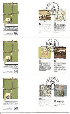 UN NY # 582-83 Geneva # 193-194, Vienna # 108-109.Human Rights FDC. UNPA Cachet