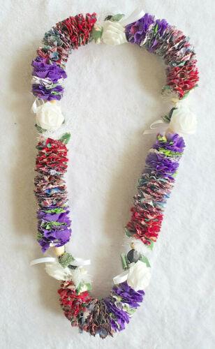 Hawaiian Kukui Nut and Multi Color Fabric Lei Handmade from Maui