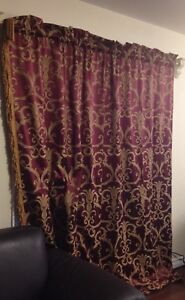 Gold and Burgundy Paisley Curtains