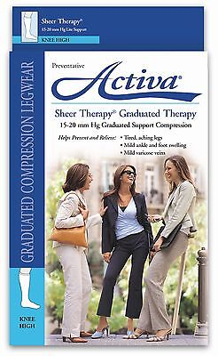 Activa Womens Compression Knee 15-20 mmhg Sheer Therapy Supports FLA Medical