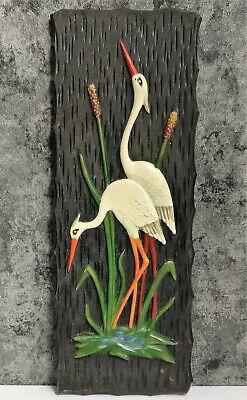 Vintage Wall Panel Souvenir Storks Birds Plastic USSR Soviet UK