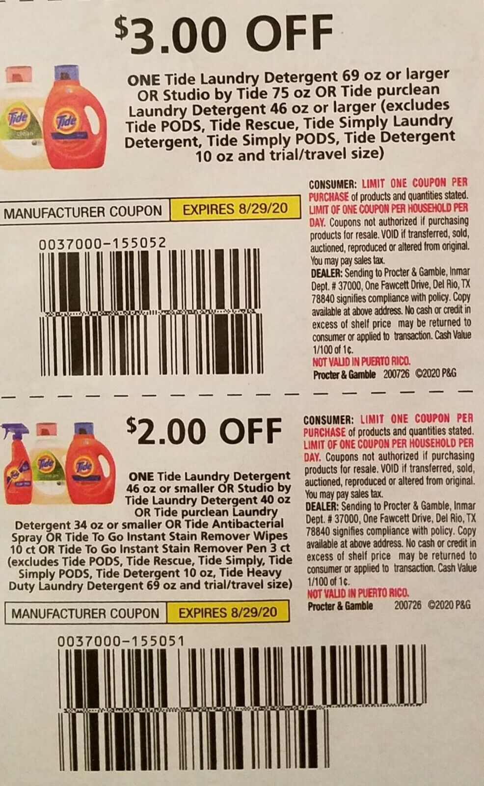 6 TIDE Sets Of 3 And 2 Off One TIDE Detergent Coupons Exp 8/29/20 - $5.85
