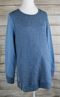 Liz Lange Maternity Sweater Long Sleeve Textured Top Tunic Pullover Small S Blue
