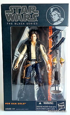 "Star Wars Black Series 6"" #08 Han Solo A New Hope Action Figure Hasbro MISB Rare"