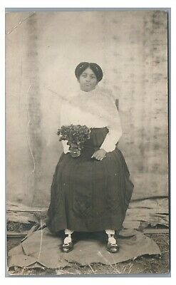 RPPC Black African Americana Lady with Flowers Real Photo Postcard