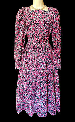 80s Dresses | Casual to Party Dresses VINTAGE LAURA ASHLEY PINK ROSES NEEDLECORD AUTUMN/WINTER DAY/TEA DRESS, 14-16 $172.16 AT vintagedancer.com
