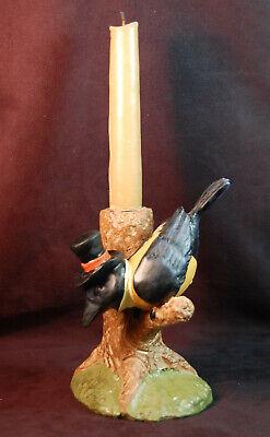 Vintage Halloween Harvest Black Crow in Top Hat & Vest Candle Holder Raven