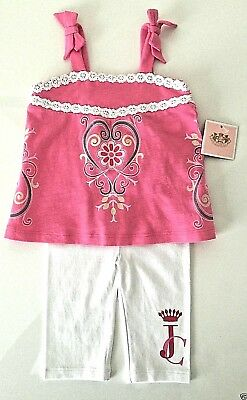 Juicy Couture Top Legging Set Sz 3-6 Months Baby Girl Heart Pink White NWT