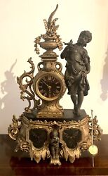Antique French Early 19thC Gilded Metal & Black Slate Mantel Clock