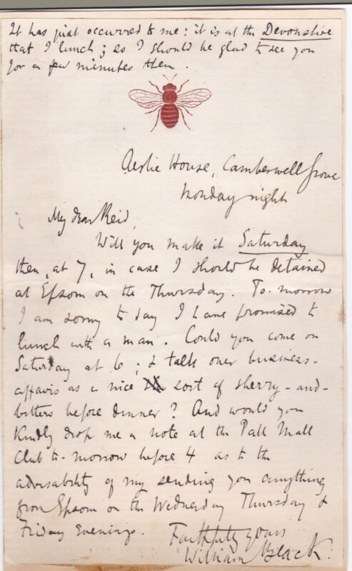AUTOGRAPH LETTER to his biographer SIGNED by Scottish novelist WILLIAM BLACK