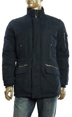 New Mens Nautica Full Zip Stand Collar Black Multi Pocket Warm Parka Jacket M Full Zip Stand