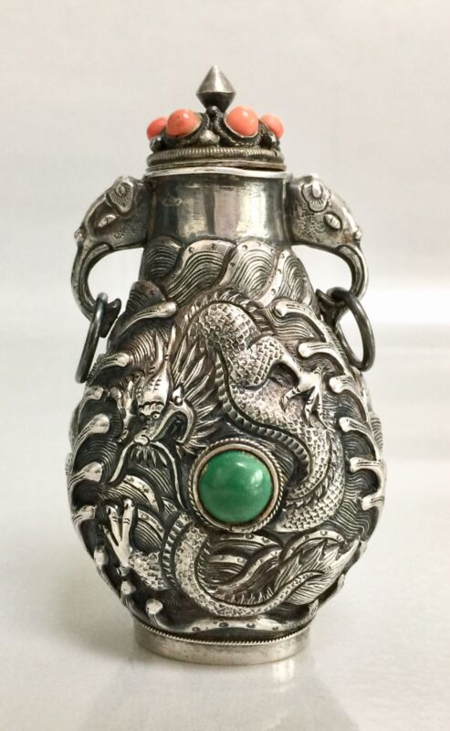Vibtage Tibetan Chinese Silver Snuff Bottle Coral Turquoise Dragon Elephant