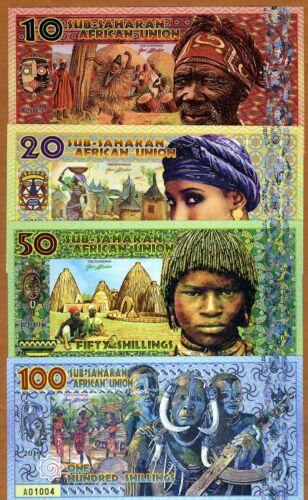 Set, Sub-Saharan African, Union 10;20;50;100 Shillings 2019 Fantasy Polymer