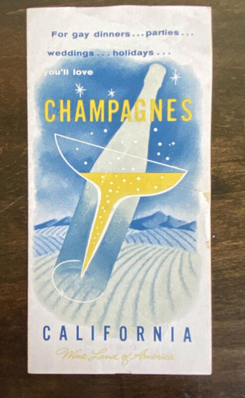 Vintage California Champagnes Advertising Brochure 1950s Ephemera