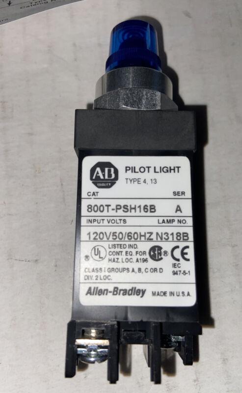 ALLEN BRADLEY AB 800T-PSH16B Ser A  N318B  BLUE PILOT LIGHT 120 VOLTS
