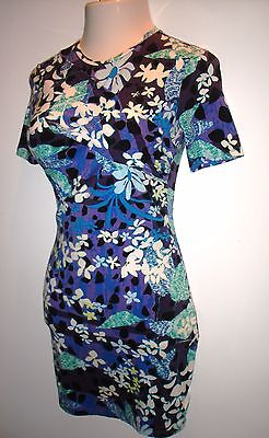Womens PETER PILOTO Multi Colored Floral Short Sleeve Dress ~ Size XS ~ Career
