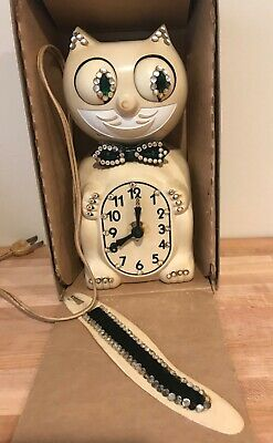 ELECTRIC KIT CAT KLOCK IVORY ANIMATED EYES & TAIL, Vintage D8, Nice condition