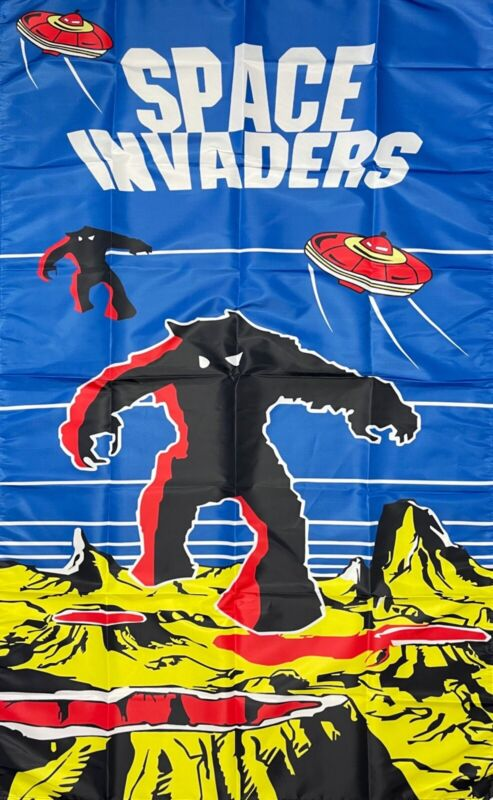 Space Invaders Flag 3x5 ft Banner Video Retro Gaming Game Arcade Man-Cave