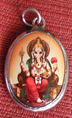 Hindu Deity Pendant Enamel RUST GANESH Hindu
