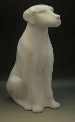 "MCM ROYAL HAEGER WHITE CERAMIC LARGE 18"" LABRADOR DOG SCULPTURE"
