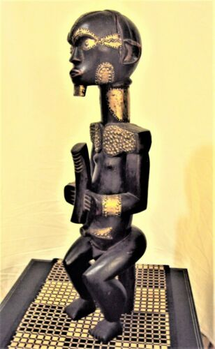 """AMAZING FANG POWER BYERI 24"""" African Carving Statue BRASS ACCENTS XRARE!!"""