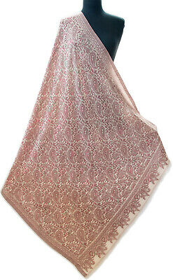 Large & Light Paisely Brick Red on Beige Jamavar Shawl Wrap Woven on Fine Wool
