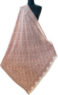 Large & Light Paisely Brick Red on Beige Jamavar Shawl Wrap Woven on Fine Wool (Fine Wool Shawl)
