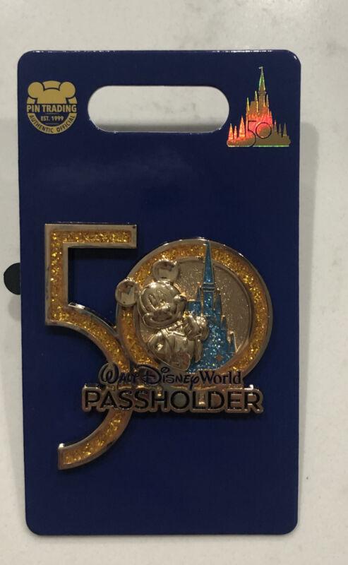 Walt Disney World 50th Anniversary Pin AP Magic Kingdom Castle Mickey Passholder