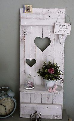♥Shabby chic Fensterladen ♥ REGAL mit Herzen Holz  Nordisch Deko Altweiß patina