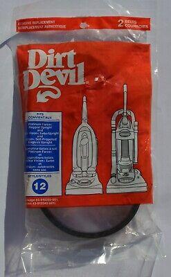 2 DIRT DEVIL VACUUM BELTS GENUINE REPLACEMENT BELT STYLE 12 FITS CONVIENT AUX 001 Replacement Vacuum Belt