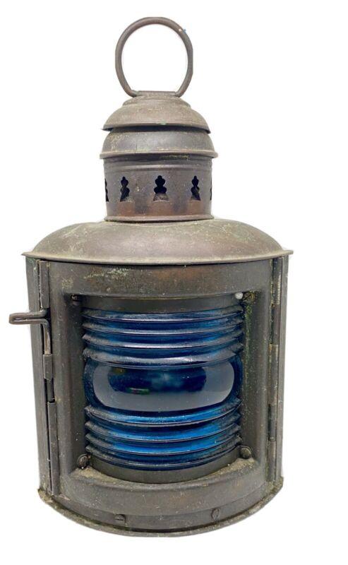 Antique Perko Starboard Brass Marine Nautical Lamp Lantern Blue Glass w/ Burner