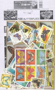 BUTTERFLIES-Theme-wise-CTO-stamps-pack-of-100-Different-Stamps-All-Large