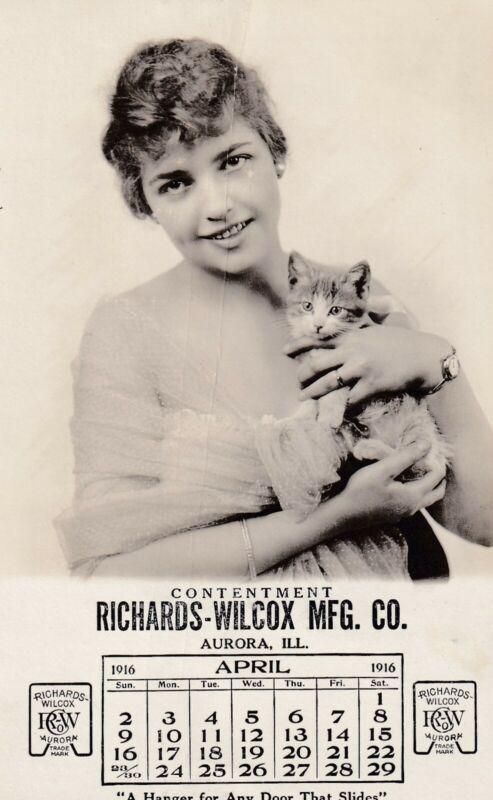 """ CONTENTMENT "" - april 1916  "" RICHARDS-WILCOX MFG.,aurora, ill."" CALENDAR card"