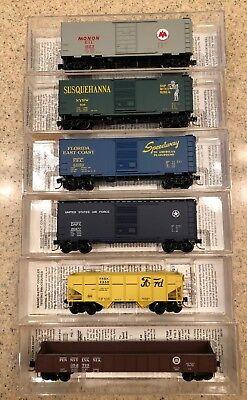 13 Rare Micro Trains Flat Cars  Box Cars  Hoppers  And Gondolas