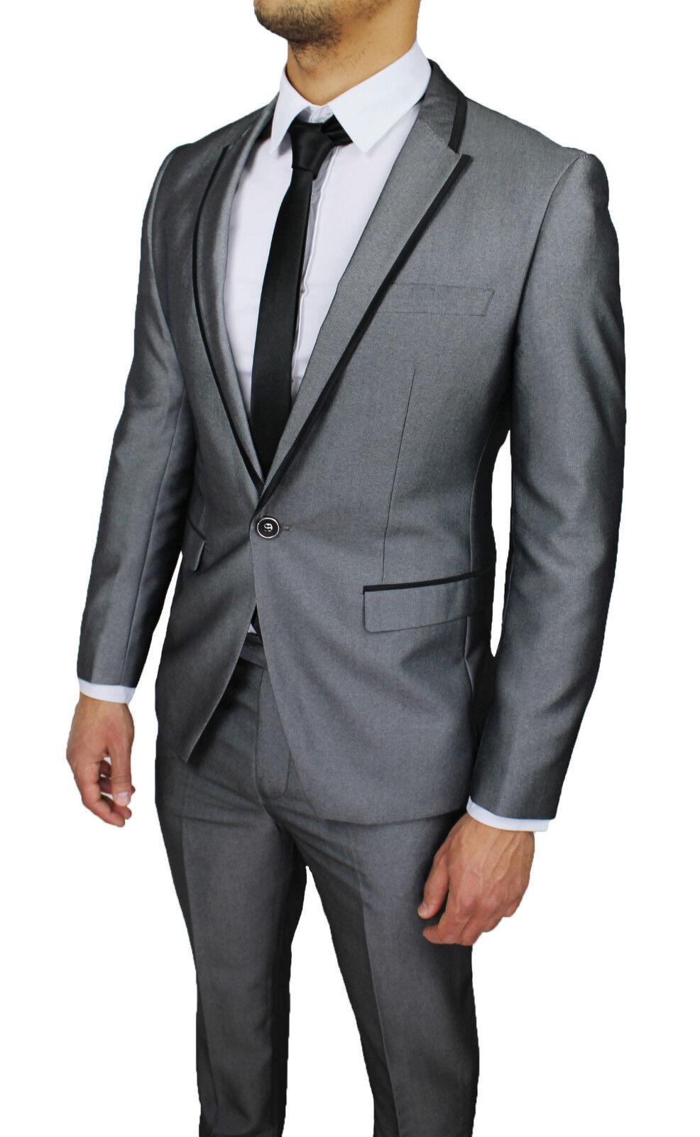 Vestiti Eleganti Uomo Grigio.Abito Completo Uomo Diamond Sartoriale Grigio Smoking Raso