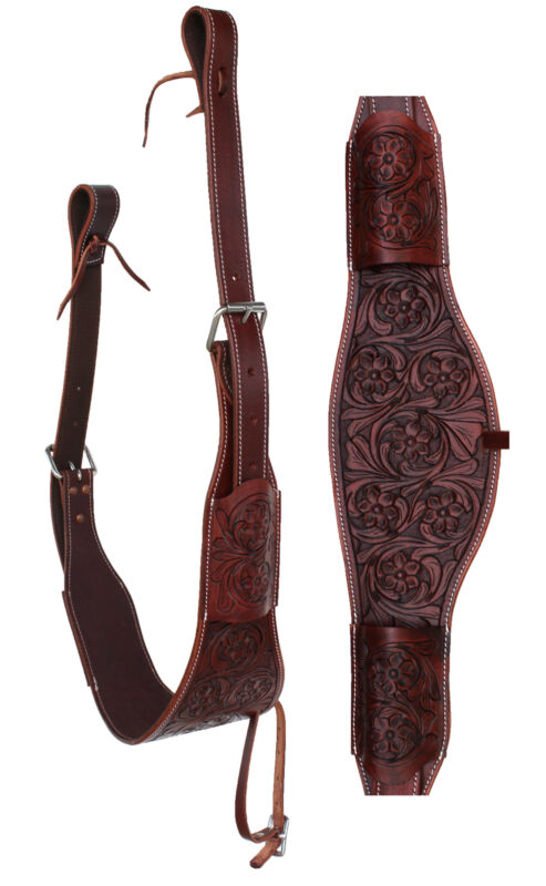 Horse Western Floral Tooled Leather Rear Flank Saddle Cinch w/ Billets 9772BR