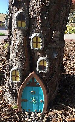 "Fairy Garden Decor (Fairy Garden Gnome Door 8 1/2"" tall and 4 Windows Set Tree Yard Decor)"