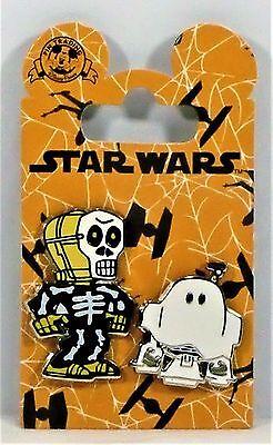 Disney Star Wars Happy Halloween Trick or Treat R2-D2 & C-3P0 2 Pin Set NEW CUTE