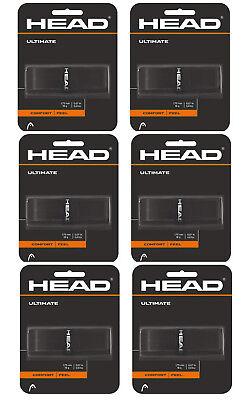 HEAD Ultimate Replacement Grips Tennis Racquet Racket Grip Black - 6 pack bundle Replacement Grip Head
