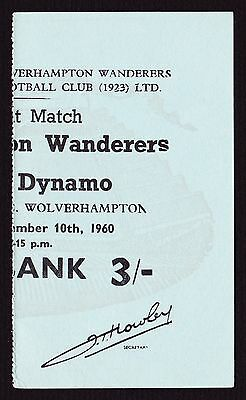 WOLVES v DYNAMO TBILISI / TIFLIS Friendly 1960/1961 Programme + Exc Cond Ticket