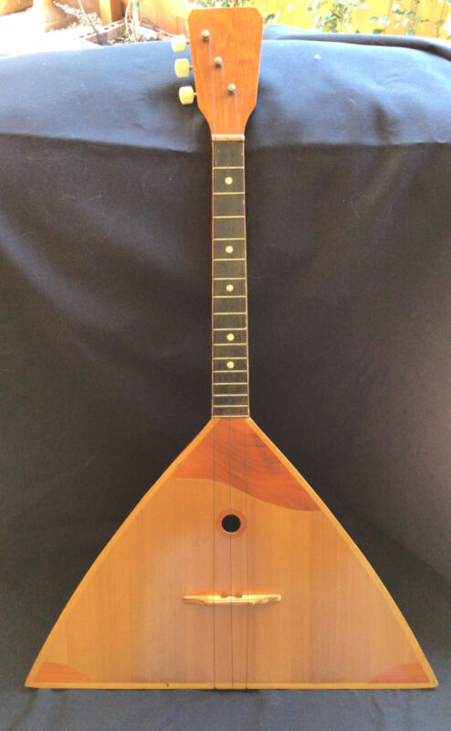 Russian Folk Art Vintage Balalaika 3 String Wooden Guitar  Beautiful