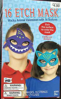 Mello Smello 16ct Wacky Animal Valentines Etch Mask with Styluses - NEW!