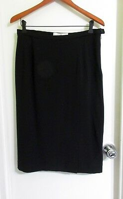NWT Max Mara Midi Skirt Italy 48 US 14 L Black Wool Faux Wrap Boot Fully Lined