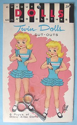 VINTAGE - CUT-OUT DOLLS AND CLOTHES - TWIN DOLLS - VACATION DOLLS #2419 - 1960's