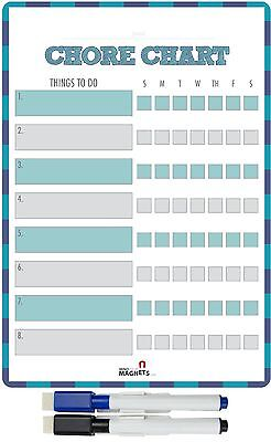 Magnetic Dry Erase Daily Chore Chart for Kids and Teens with 2 Markers