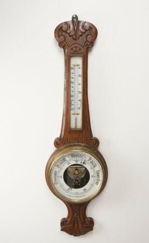 Antique Oak Barometer, Carved Oak Aneroid Barometer, Scotland 1910, B2248