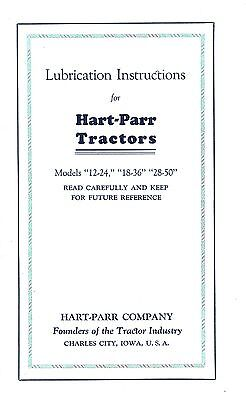 Hart Parr 12-24 18-36 28-50 Tractor Lube Service Manual
