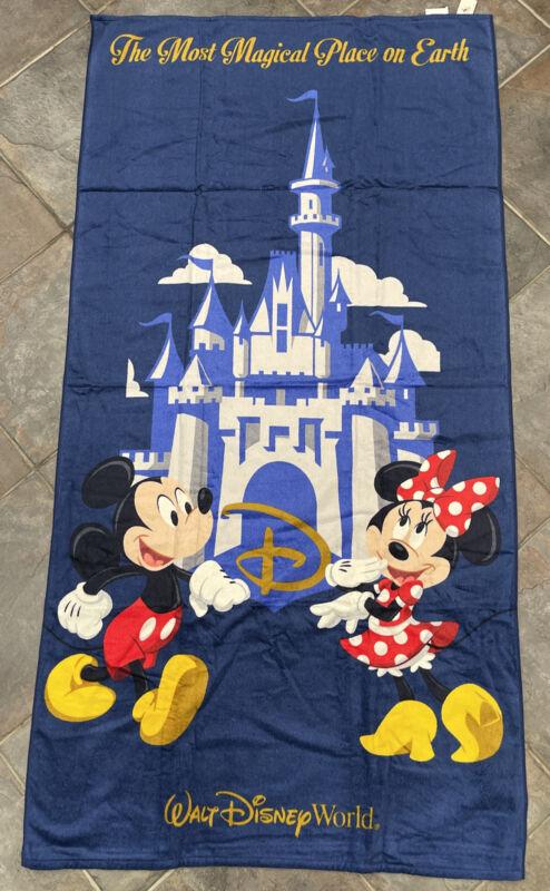 "Disney Parks Mickey Minnie Castle Magical Beach Bath Towel 63 X 33"" NEW💥"